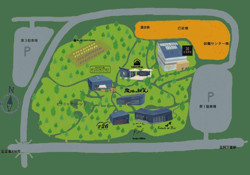 にぎわいの森の施設案内図